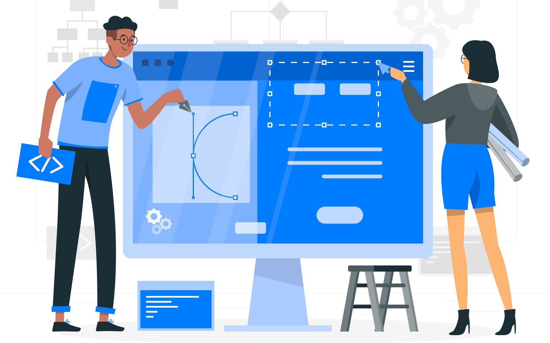 Illustration of two people editing a website on a giant computer.