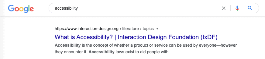 Screenshot of a Google search result for the term accessibility.